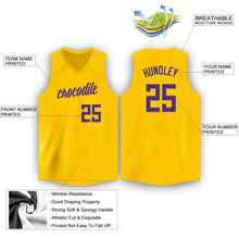 Load image into Gallery viewer, Custom Gold Purple V-Neck Basketball Jersey