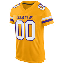 Load image into Gallery viewer, Custom Gold White-Purple Mesh Authentic Football Jersey