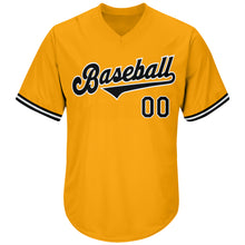 Load image into Gallery viewer, Custom Gold Black-White Authentic Throwback Rib-Knit Baseball Jersey Shirt