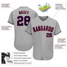 Load image into Gallery viewer, Custom Gray Navy-Red Authentic Baseball Jersey