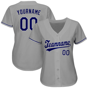 Custom Gray Royal-White Authentic Baseball Jersey