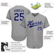 Load image into Gallery viewer, Custom Gray Royal-White Authentic Baseball Jersey