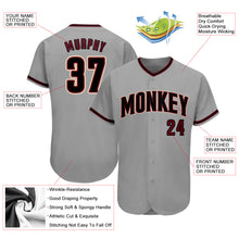 Load image into Gallery viewer, Custom Gray Black-Crimson Authentic Baseball Jersey