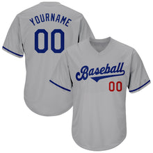 Load image into Gallery viewer, Custom Gray Royal-Red Authentic Throwback Rib-Knit Baseball Jersey Shirt