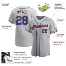 Load image into Gallery viewer, Custom Gray Royal-Orange Authentic Baseball Jersey