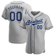 Load image into Gallery viewer, Custom Gray Navy-Powder Blue Authentic Baseball Jersey