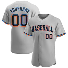 Load image into Gallery viewer, Custom Gray Black-Powder Blue Authentic Baseball Jersey