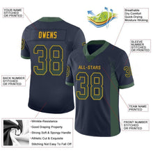 Load image into Gallery viewer, Custom Navy Green-Gold Mesh Drift Fashion Football Jersey