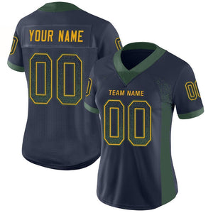 Custom Navy Green-Gold Mesh Drift Fashion Football Jersey