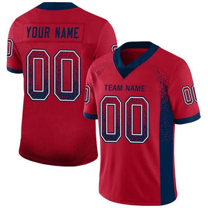Custom Red Navy-White Mesh Drift Fashion Football Jersey