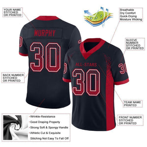 Custom Navy Red-White Mesh Drift Fashion Football Jersey