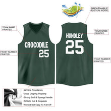 Load image into Gallery viewer, Custom Hunter Green White V-Neck Basketball Jersey