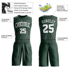 Load image into Gallery viewer, Custom Hunter Green White Round Neck Suit Basketball Jersey