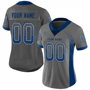 Custom Gray Royal-White Mesh Drift Fashion Football Jersey