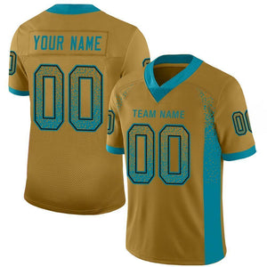 Custom Old Gold Teal-Black Mesh Drift Fashion Football Jersey