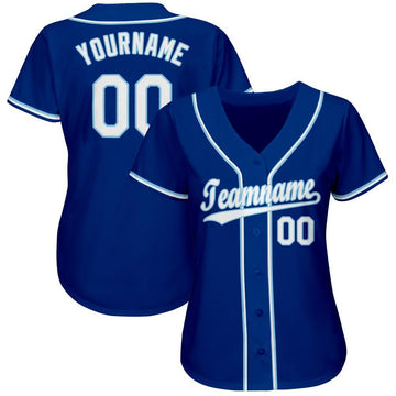 Custom Royal White-Light Blue Baseball Jersey