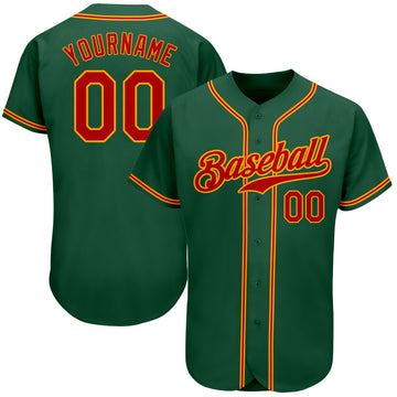 Custom Kelly Green Red-Gold Authentic Baseball Jersey