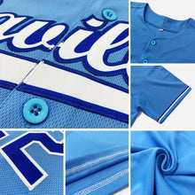 Load image into Gallery viewer, Custom Light Blue White-Red Authentic Baseball Jersey