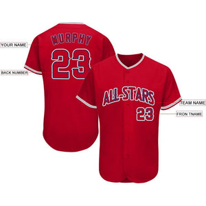 Custom Red Navy-Gray Baseball Jersey