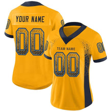 Load image into Gallery viewer, Custom Gold Navy-Powder Blue Mesh Drift Fashion Football Jersey