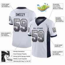 Load image into Gallery viewer, Custom White Navy-Old Gold Mesh Drift Fashion Football Jersey
