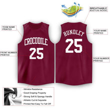 Load image into Gallery viewer, Custom Maroon White Round Neck Basketball Jersey