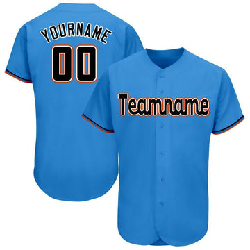 Custom Powder Blue Black-Orange Baseball Jersey