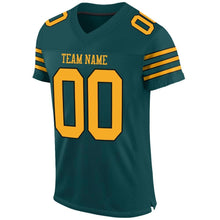 Load image into Gallery viewer, Custom Midnight Green Gold-Black Mesh Authentic Football Jersey