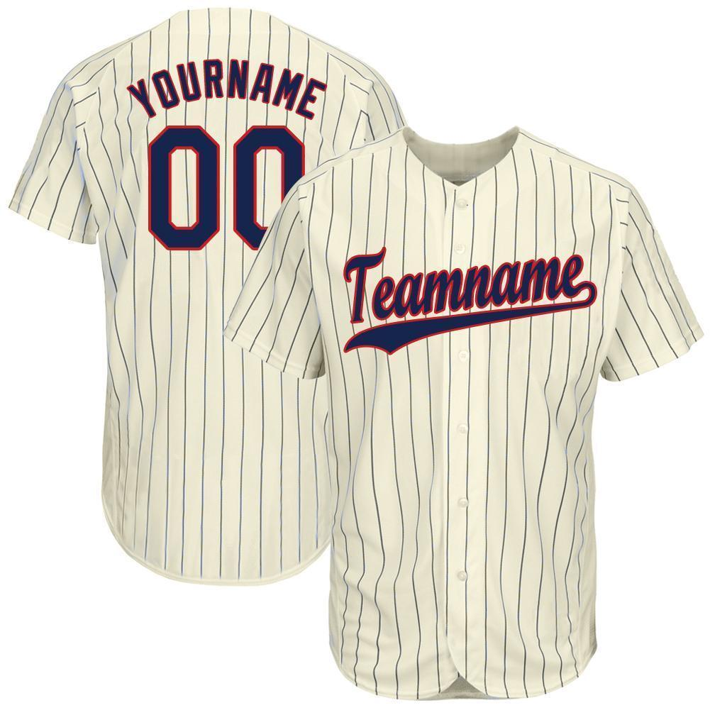 Custom Cream Navy Strip Navy-Red Baseball Jersey