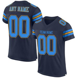 Custom Navy Powder Blue-Gold Mesh Authentic Football Jersey