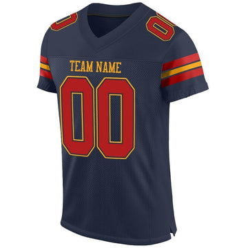 Custom Navy Scarlet-Gold Mesh Authentic Football Jersey