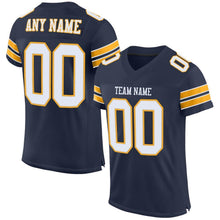 Load image into Gallery viewer, Custom Navy White-Gold Mesh Authentic Football Jersey