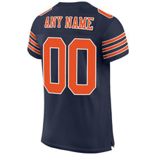 Load image into Gallery viewer, Custom Navy Orange-White Mesh Authentic Football Jersey
