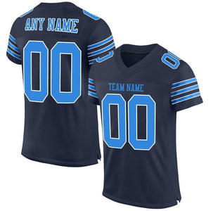 Custom Navy Powder Blue-White Mesh Authentic Football Jersey