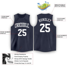 Load image into Gallery viewer, Custom Navy White Round Neck Basketball Jersey