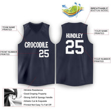 Load image into Gallery viewer, Custom Navy White V-Neck Basketball Jersey