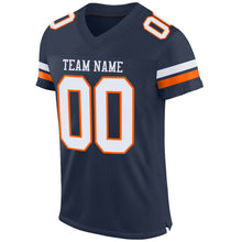 Load image into Gallery viewer, Custom Navy White-Orange Mesh Authentic Football Jersey