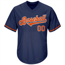 Load image into Gallery viewer, Custom Navy Orange-White Authentic Throwback Rib-Knit Baseball Jersey Shirt