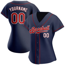 Load image into Gallery viewer, Custom Navy Red-White Authentic Baseball Jersey