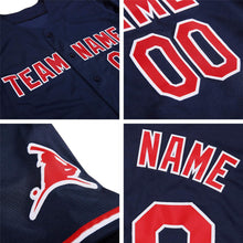 Load image into Gallery viewer, Custom Navy White-Red Authentic Baseball Jersey