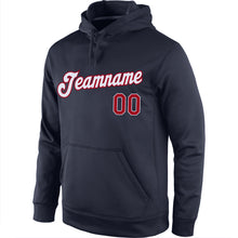 Load image into Gallery viewer, Custom Stitched Navy Red-White Sports Pullover Sweatshirt Hoodie