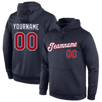 Custom Stitched Navy Red-White Sports Pullover Sweatshirt Hoodie