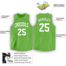Load image into Gallery viewer, Custom Neon Green White Round Neck Basketball Jersey