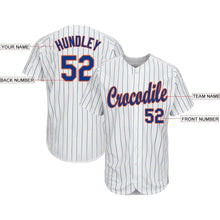 Load image into Gallery viewer, Custom White Royal Strip Royal-Orange Baseball Jersey