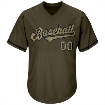 Custom Olive Camo-Black Authentic Salute To Service Throwback Rib-Knit Baseball Jersey Shirt