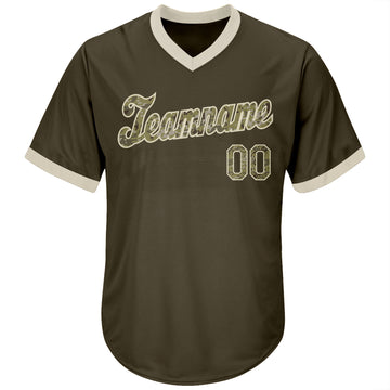 Custom Olive Camo-Cream Authentic Salute To Service Throwback Rib-Knit Baseball Jersey Shirt