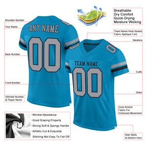Custom Panther Blue Light Gray-Black Mesh Authentic Football Jersey