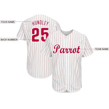 Load image into Gallery viewer, Custom White Red Strip Red-White Baseball Jersey