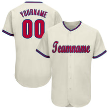 Load image into Gallery viewer, Custom Cream Red-Royal Baseball Jersey