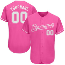 Load image into Gallery viewer, Custom Pink White Authentic Baseball Jersey